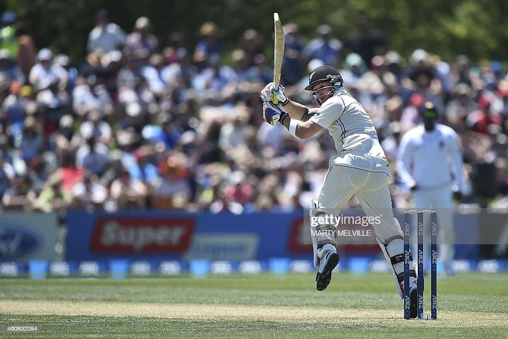 New Zealand's captain Brendon McCullum bats during the first international Test cricket match between New Zealand and Sri Lanka in Christchurch at...