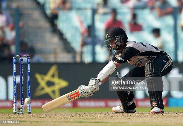 New Zealand's captain Kane Williamson plays a shot during the World T20 cricket tournament match between Bangladesh and New Zealand at The Eden...