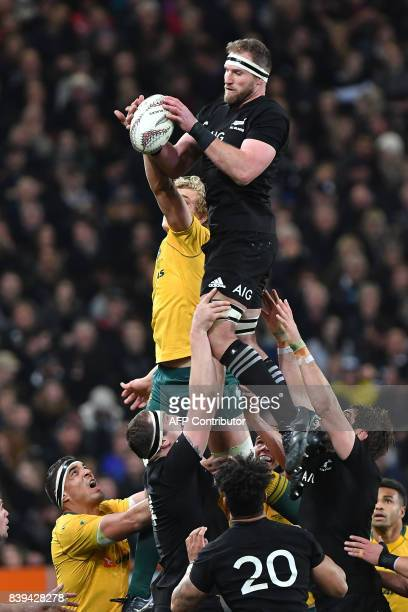 New Zealand's captain Kieran Read takes the line out ball with Australia's Ned Hanigan during the second Bledisloe Cup match between New Zealand and...
