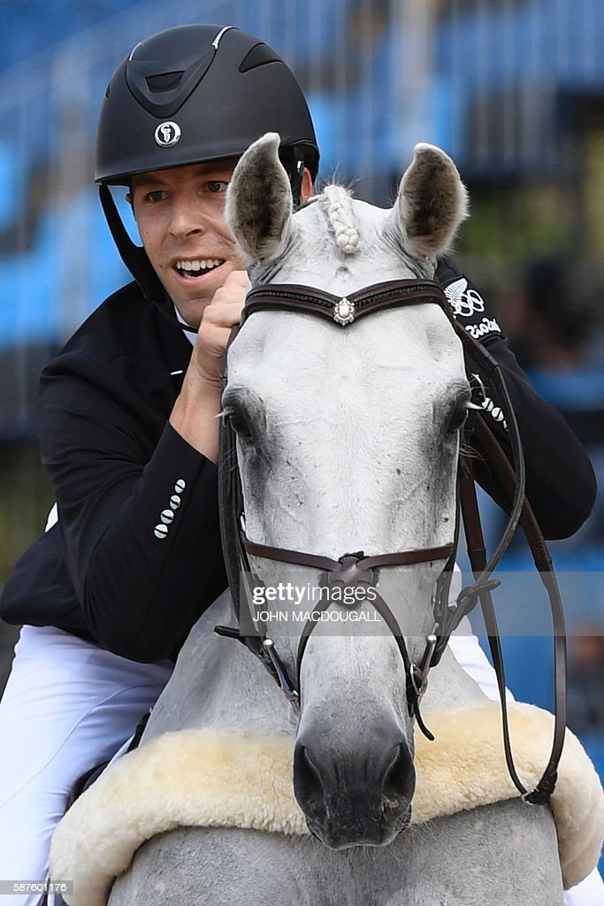 New Zealand's Clarke Johnstone on Balmoral Sensation competes during the Eventing's Individual Jumping of the Equestrian during the 2016 Rio Olympic...