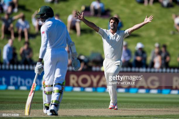New Zealand's Colin De Grandhomme appeals for a LBW call on South Africa's Kagiso Rabada during day two of the 2nd International cricket test match...