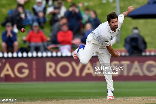 New Zealand's Colin De Grandhomme bowls during day three of the second Test cricket match between New Zealand and South Africa at the Basin Reserve...