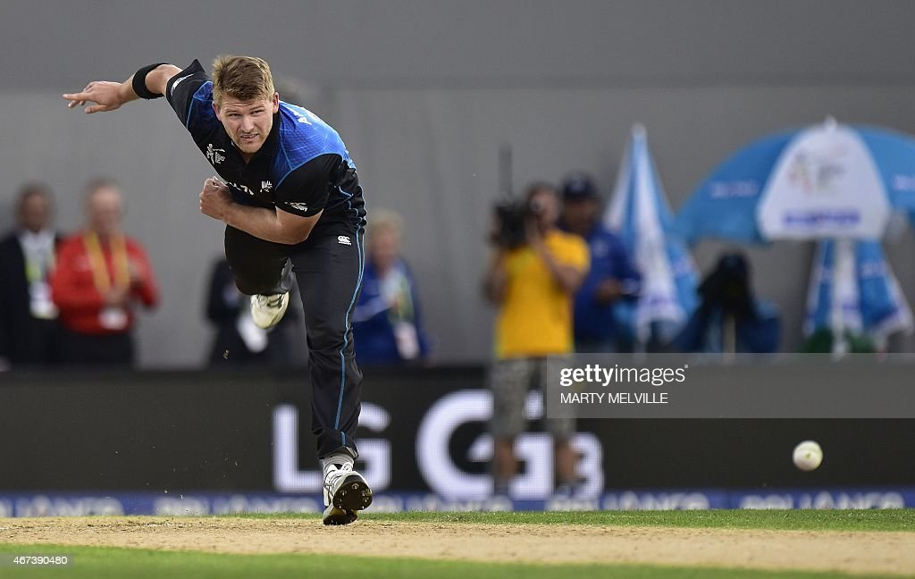 New Zealand's <a gi-track='captionPersonalityLinkClicked' href=/galleries/search?phrase=Corey+Anderson+-+Cricket+Player&family=editorial&specificpeople=12457249 ng-click='$event.stopPropagation()'>Corey Anderson</a> bowls during the Cricket World Cup semi-final match between New Zealand and South Africa at Eden Park in Auckland on March 24, 2015. AFP PHOTO / MARTY MELVILLE