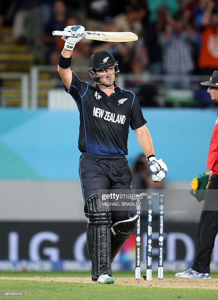 New Zealand's <a gi-track='captionPersonalityLinkClicked' href=/galleries/search?phrase=Corey+Anderson+-+Cricket+Player&family=editorial&specificpeople=12457249 ng-click='$event.stopPropagation()'>Corey Anderson</a> celebrates his half century during the semi-final Cricket World Cup match between New Zealand and South Africa played at Eden Park in Auckland on March 24, 2015. AFP PHOTO / Michael Bradley