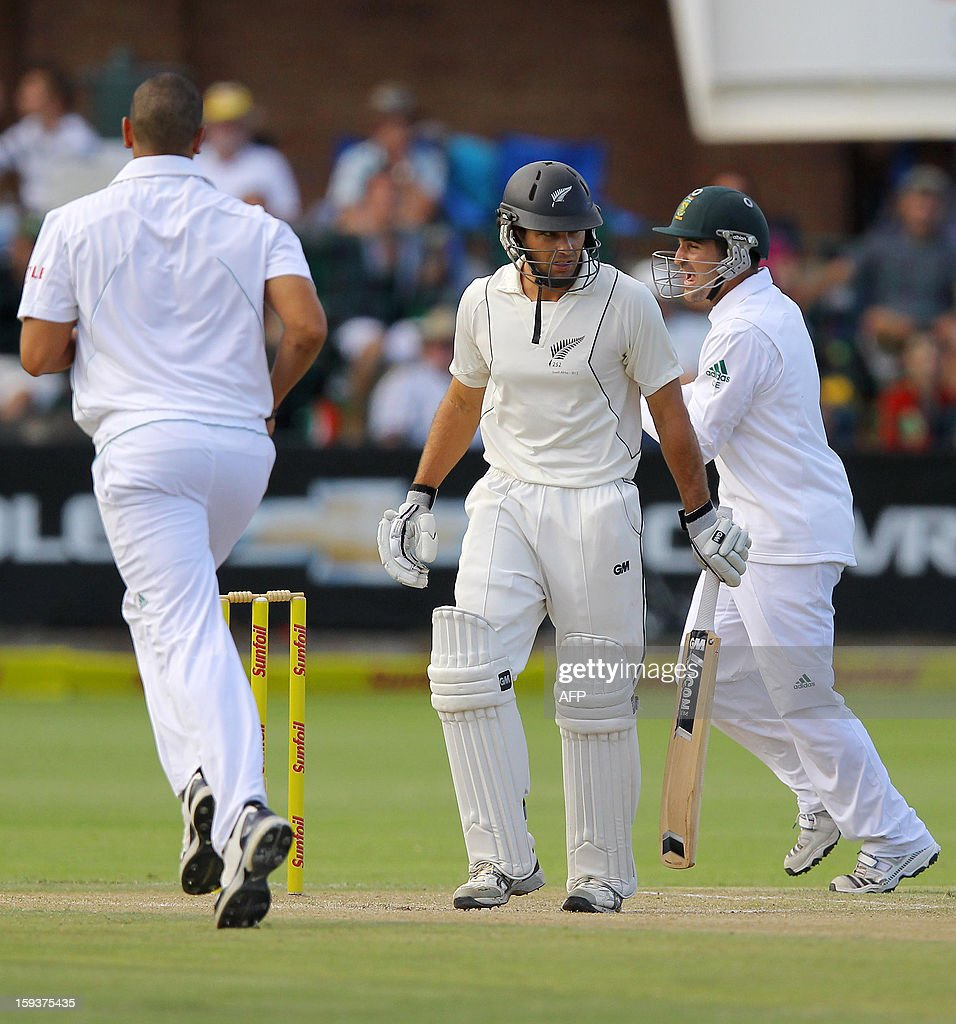 New Zealand's Dean Brownlie looks at the pitch after losing his wicket on January 12, 2013 on the second day of the second and final Test against South Africa at St George's Park in Port Elizabeth. PHOTO /Anesh Debiky