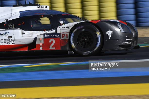 TOPSHOT New Zealand's driver Earl Bamber competes on his Porsche 919 Hybrid N°2 during the 85th Le Mans 24hours endurance race on June 18 2017 in Le...