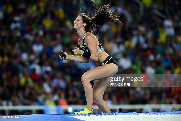 New Zealand's Eliza McCartney reacts while competing in the Women's Pole Vault Final during the athletics event at the Rio 2016 Olympic Games at the...