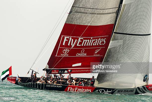 New Zealand's Emirates team members compete in the Louis Vuitton Trophy sailing race off the coast of Dubai on November 14 2010 AFP PHOTO/MARWAN...