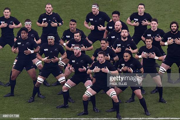 New Zealand's flanker and captain Richie McCaw is pictured as his team perform the haka before the start of the final match of the 2015 Rugby World...