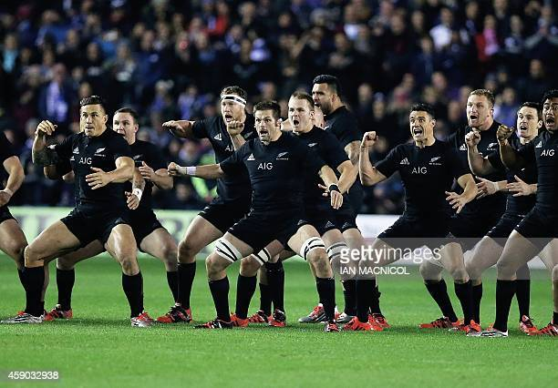 New Zealand's flanker Richie McCaw leads the Haka ahead of the Autumn International rugby union Test match between Scotland and New Zealand at...