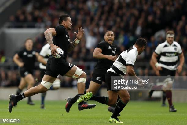 New Zealand's flanker Vaea Fifita makes a break during the international rugby union match between Barbarians and New Zealand at Twickenham in south...
