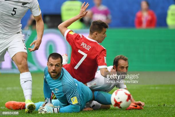 New Zealand's goalkeeper Stefan Marinovic eyes the ball during the 2017 Confederations Cup group A football match between Russia and New Zealand at...