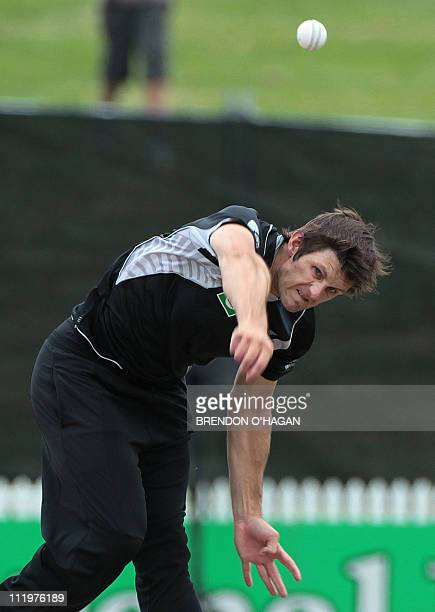 New Zealand's Hamish Bennett bowls during the fifth oneday international cricket match between New Zealand and Pakistan at Seddon Park in Hamilton on...