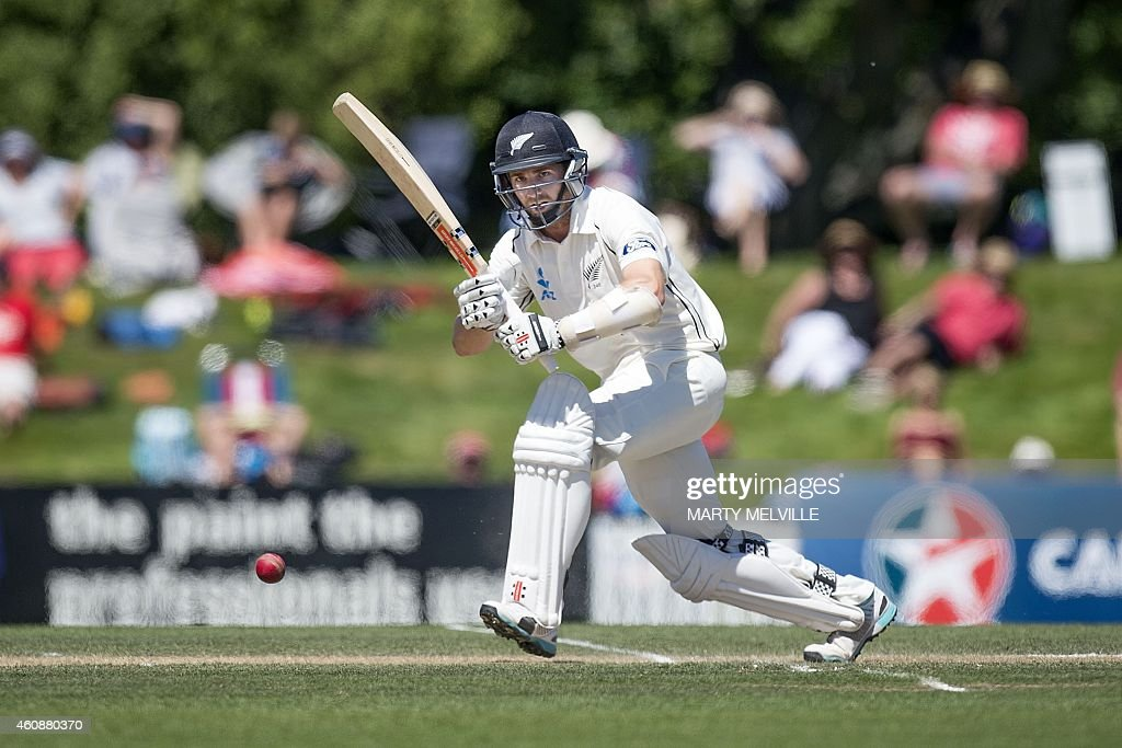 New Zealand's Hamish Rutherford bats during day four of the first International Test cricket match between New Zealand and Sri Lanka in Christchurch...