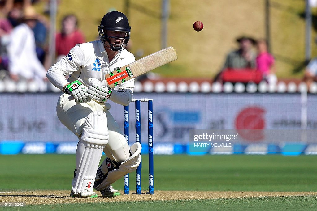 New Zealand's Henry Nicholls plays a shot during day three of the first cricket Test match between New Zealand and Australia at the Basin Reserve in Wellington on February 14, 2016. AFP PHOTO / MARTY MELVILLE / AFP / Marty Melville