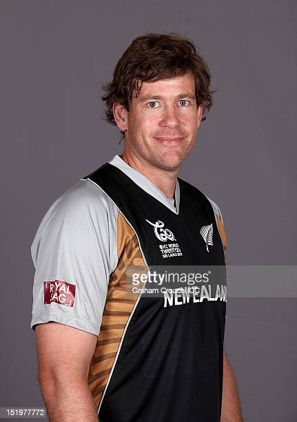 New Zealand's Jacob Oram poses during a portrait session ahead of the ICC T20 World Cup on September 14 2012 in Colombo Sri Lanka