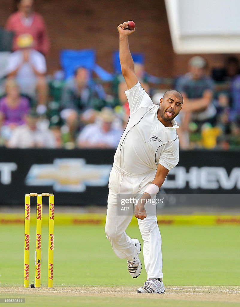 New Zealand's Jeetan Patel bowls on January 12, 2013 on the second day of the second and final Test against South Africa at St George's Park in Port Elizabeth. PHOTO /Anesh Debiky