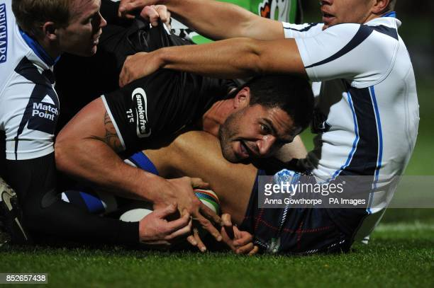 New Zealand's Jesse Bromwich forces his way over to score a try during the World Cup Quarter Final match at Headingley Stadium Leeds