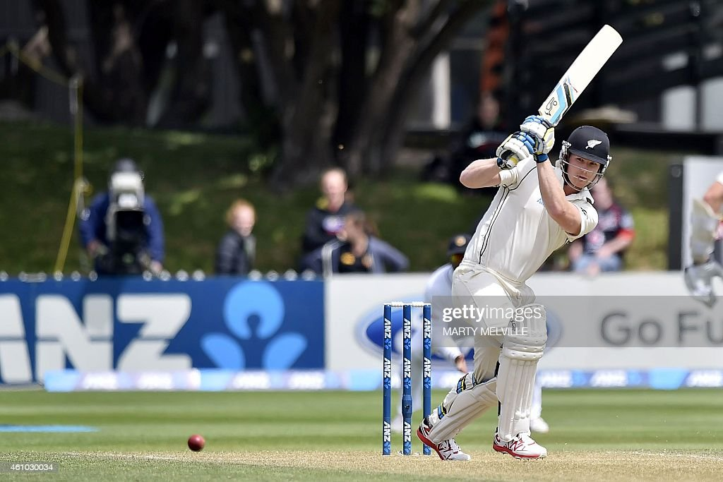New Zealand's <a gi-track='captionPersonalityLinkClicked' href=/galleries/search?phrase=Jimmy+Neesham&family=editorial&specificpeople=6680337 ng-click='$event.stopPropagation()'>Jimmy Neesham</a> bats on day three of the second international Test cricket match between New Zealand and Sri Lanka at the Basin Reserve in Wellington on January 5, 2015.