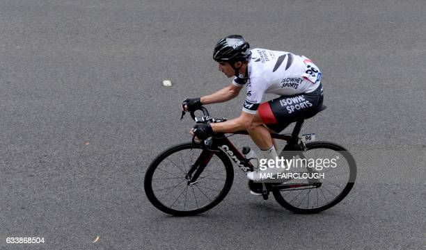 New Zealand's Joe Cooper of Isowhey Sports takes part in stage four of the 2017 Herald Sun Tour cycling race in Melbourne on February 5 2017 / AFP /...