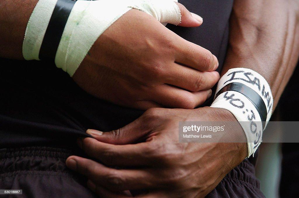 New Zealand's Joe Rokocoko's bible inscription of Inexhaustible Strength by Isaiah 40:30-31 is seen during the IRB London 7's Tournament between New Zealand and Tunisia at Twickenham Stadium on June 4, 2005 in Twickenham, England.