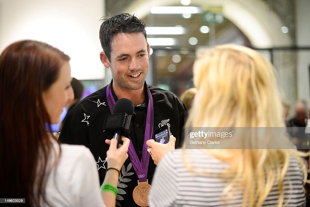 New Zealand's Jonathan Paget talks to media during a Visit Kiwi House on August 1, 2012 in London, England. New Zealand won their first medal at the London Olympics after they picked up bronze in the team's competition of the three-day eventing.