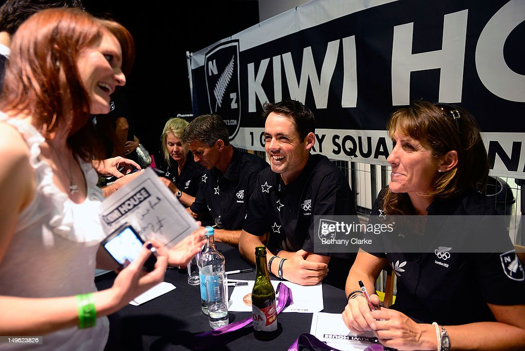 New Zealand's Jonelle Richards, Andrew Nicholson, Jonathan Paget and Caroline Powell sign autographs for fans during a Visit Kiwi House on August 1, 2012 in London, England. New Zealand won their first medal at the London Olympics after they picked up bronze in the team's competition of the three-day eventing.