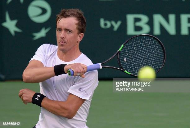 New Zealand's Jose Statham returns a shot during a Davis Cup singles tennis match against India's Ramkumar Ramanathan at the Balewadi Sports Complex...