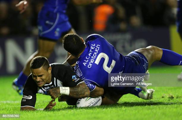 New Zealand's Josh Hoffman scores the first try during the 2013 World Cup match at the Halliwell Jones Stadium Warrington