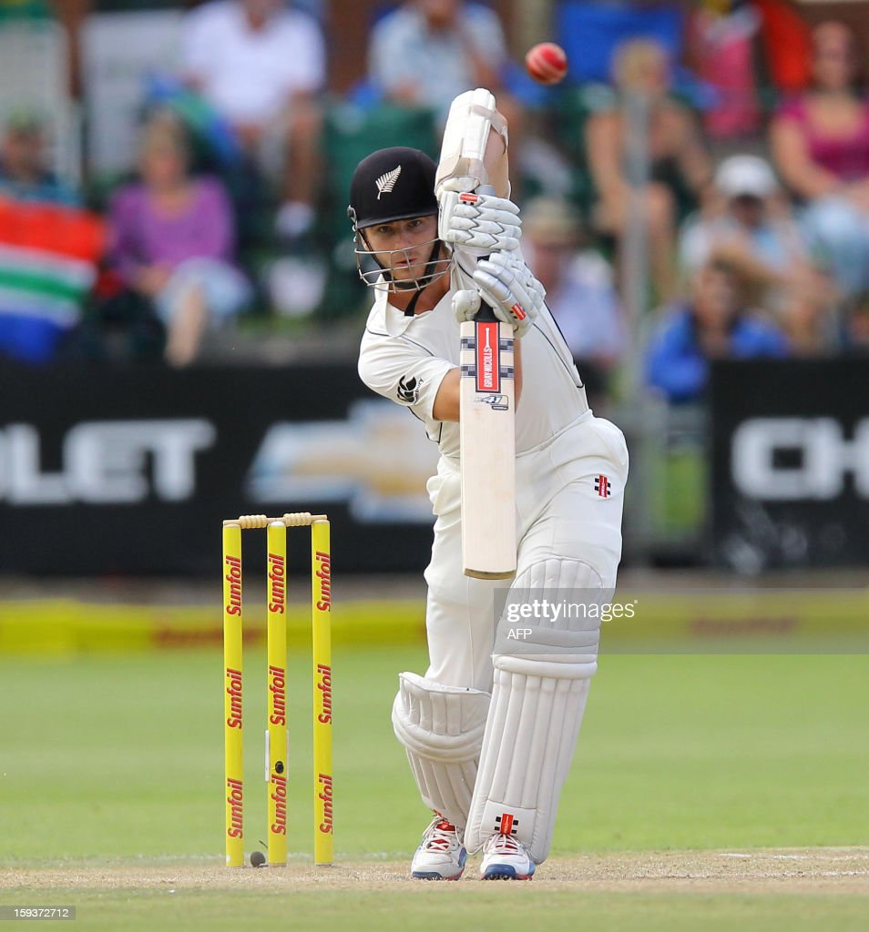 New Zealand's Kane Williamson bats on January 12, 2013 on the second day of the second and final Test against South Africa at St George's Park in Port Elizabeth. PHOTO /Anesh Debiky