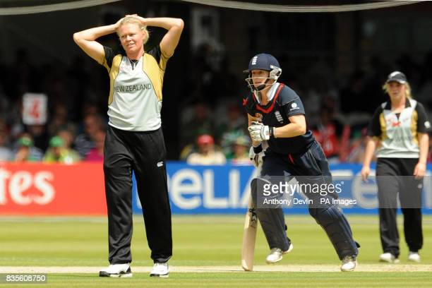 New Zealand's Kate Pulford stands dejected as England make more runs during the Final of the Women's ICC World Twenty20 at Lords London
