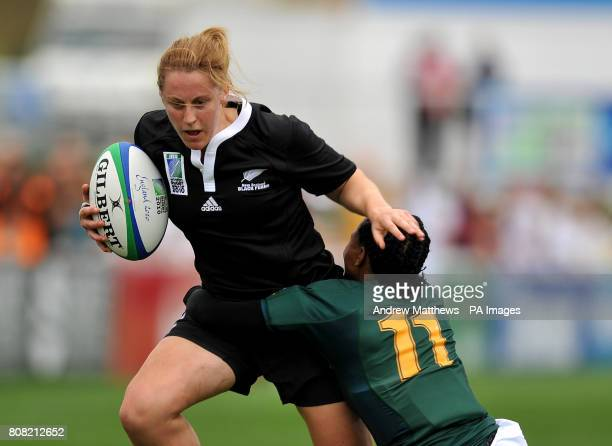 New Zealand's Kelly Brazier is tackled by South Africa's Phumeza Gadu during the Women's World Cup at Surrey Sports Park Surrey