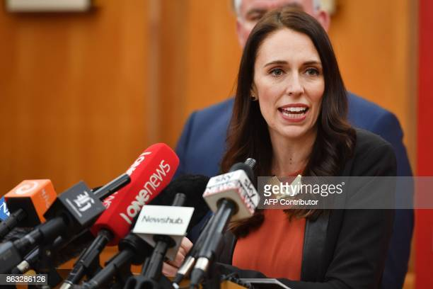 New Zealand's Labour party leader Jacinda Ardern speaks to the media after her first caucus meeting as Prime Ministerelect at Parliament in...