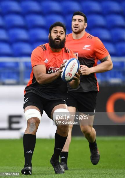 New Zealand's locks Patrick Tuipulotu and lock Luke Whitelock attend a training session on the eve of the friendly rugby union international match...