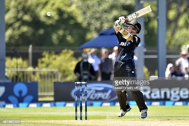 New Zealand's Luke Ronchi plays a shot during the fifth one day International cricket match between New Zealand and Sri Lanka in Dunedin at...