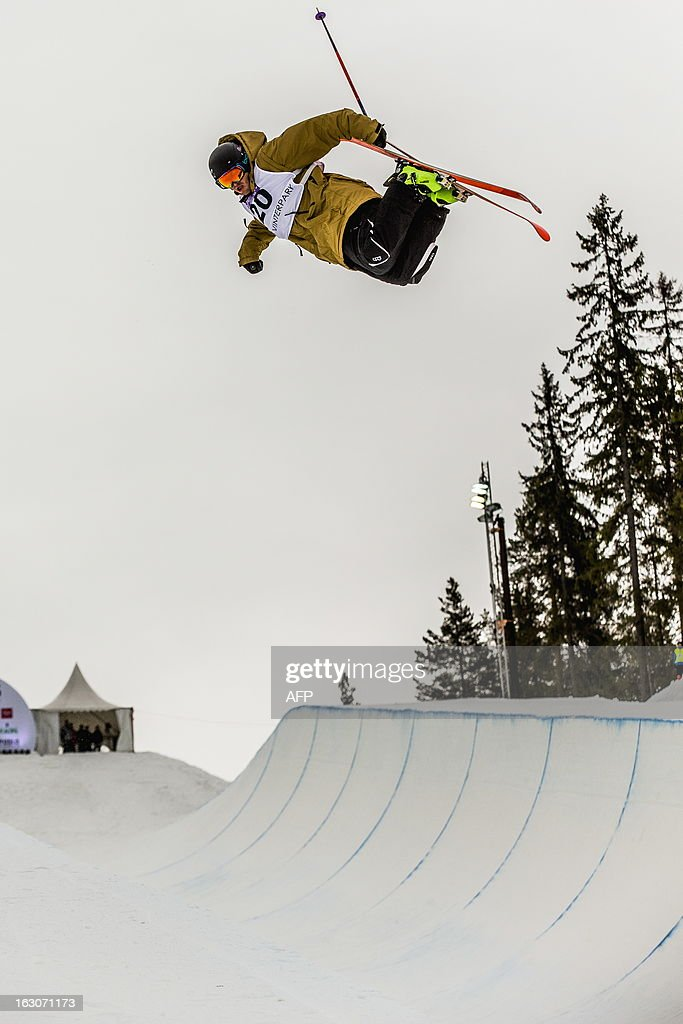 New Zealand's Lyndon Sheehan competes during the qualification race for the FIS men Freestyle Halfpipe Skiing World Cup in Oslo-Tryvann, Norway on March 4, 2013. The actual competition will take place on March 5, 2013.