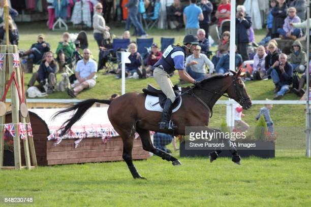 New Zealand's Mark Todd misses out a fence by accident when competeing on NZB Campino in the St James's Place Barbury International Horse Trials...