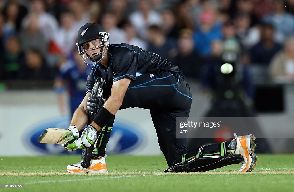 New Zealand's Martin Guptill bats during the International Twenty20 cricket match between New Zealand and England played at Eden Park in Auckland on Febuary 9, 2013. AFP PHOTO / Michael BRADLEY