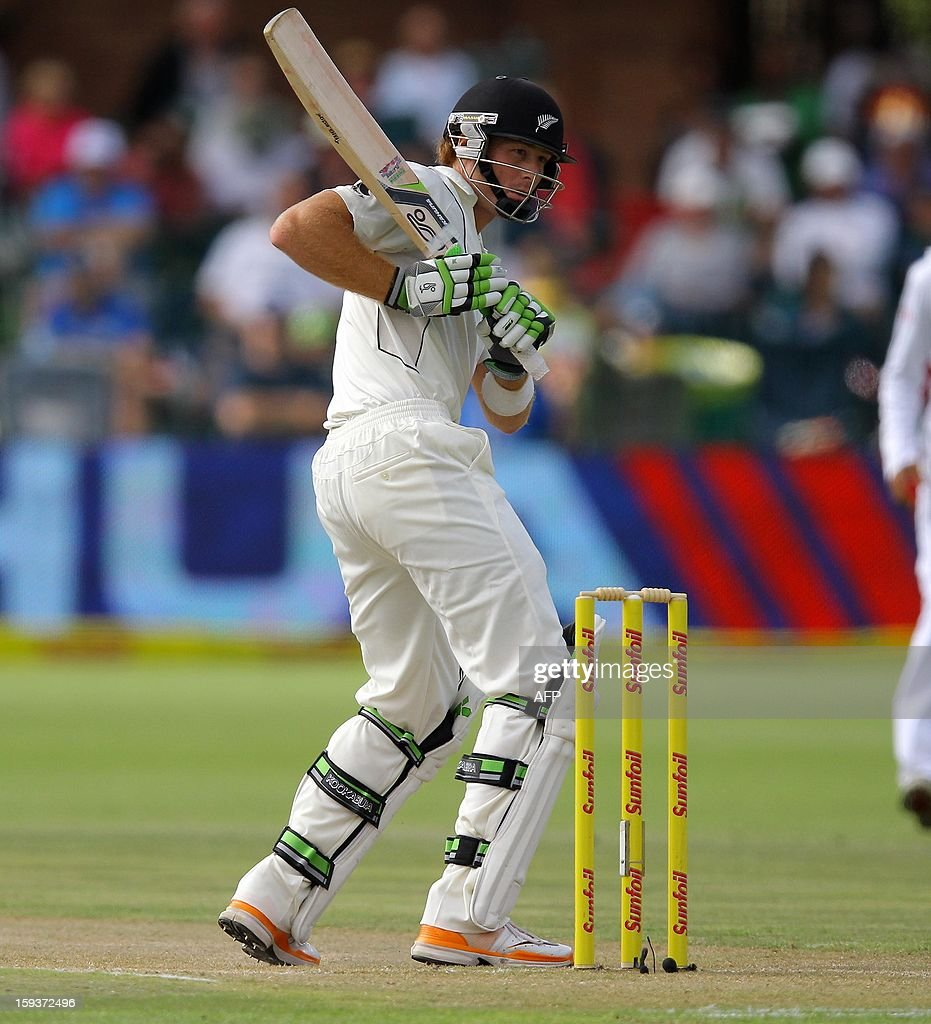 New Zealand's Martin Guptill bats on January 12, 2013 on the second day of the second and final Test against South Africa at St George's Park in Port Elizabeth. PHOTO /Anesh Debiky