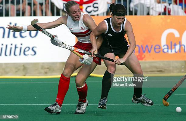 New Zealands Michelle Turner clashes with Englands Kate Walsh during the womens Hockey Pool match between New Zealand and England played at the Belle...