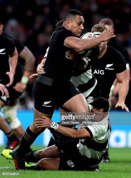 New Zealand's Ngani Laumape breaks through to score a try during the Autumn International match at Twickenham London