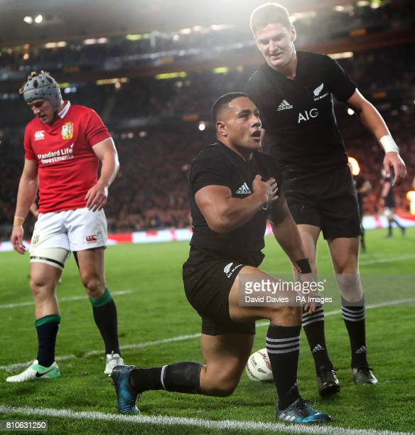 New Zealand's Ngani Laumape celebrates scoring their first try during the third test of the 2017 British and Irish Lions tour at Eden Park Auckland