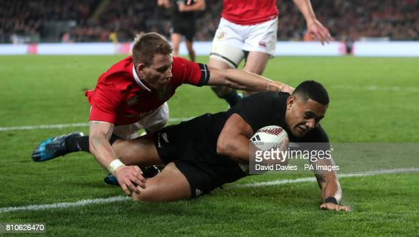 New Zealand's Ngani Laumape scores their first try during the third test of the 2017 British and Irish Lions tour at Eden Park Auckland