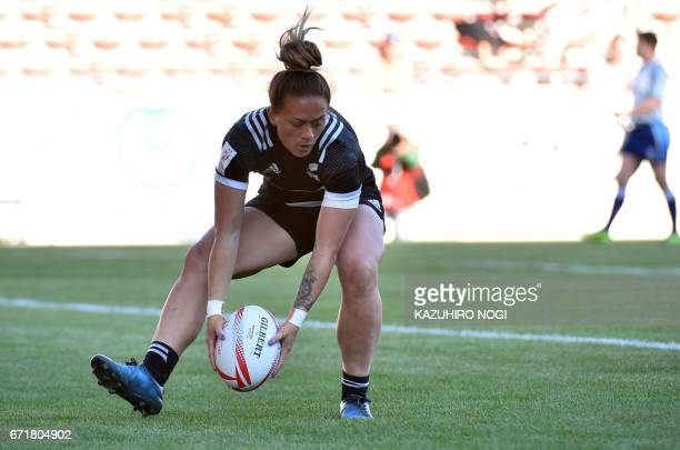 New Zealand's Niall Williams scores a try against Canada during the final at the World Rugby Women's Sevens Series in Kitakyushu Fukuoka prefecture...