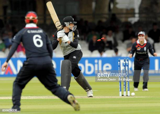 New Zealand's Nicola Browne is bowled out by England's Nicky Shaw during the Final of the Women's ICC World Twenty20 at Lords London