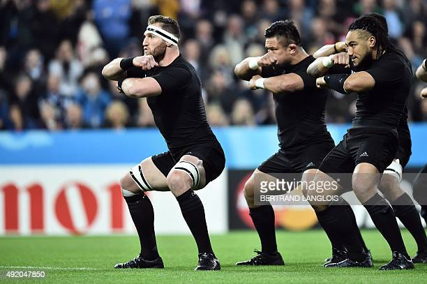 New Zealand's number 8 and captain Kieran Read leads the haka prior to a Pool C match of the 2015 Rugby World Cup between New Zealand and Tonga at St...