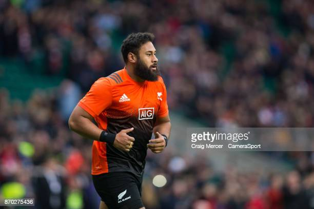 New Zealands Patrick Tuipulotu during the pre match warm up during the Killik Cup match between Barbarians and New Zealand at Twickenham Stadium on...