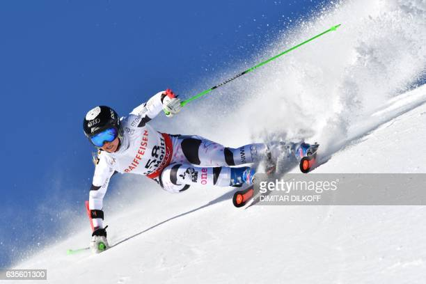 New Zealand's Piera Hudson competes in the women's giant slalom race at the 2017 FIS Alpine World Ski Championships in St Moritz on February 16 2017...