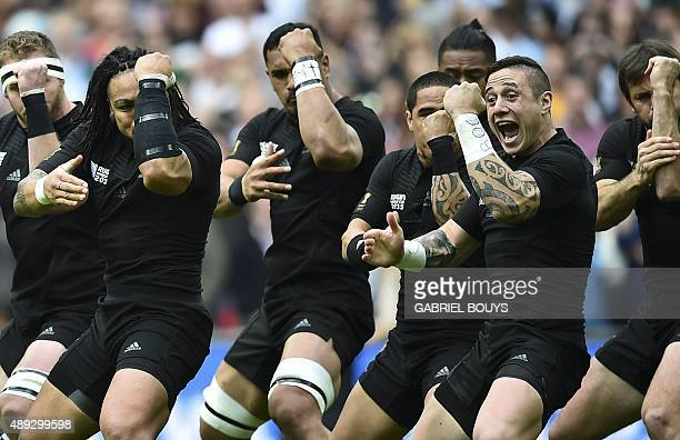 New Zealand's players perform the Haka prior to a Pool C match of the 2015 Rugby World Cup between New Zealand and Argentina at Wembley stadium north...