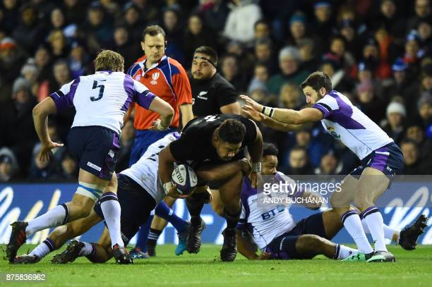 New Zealand's prop Nepo Laulala holds the ball during the international rugby union test match between Scotland and New Zealand at Murrayfield...